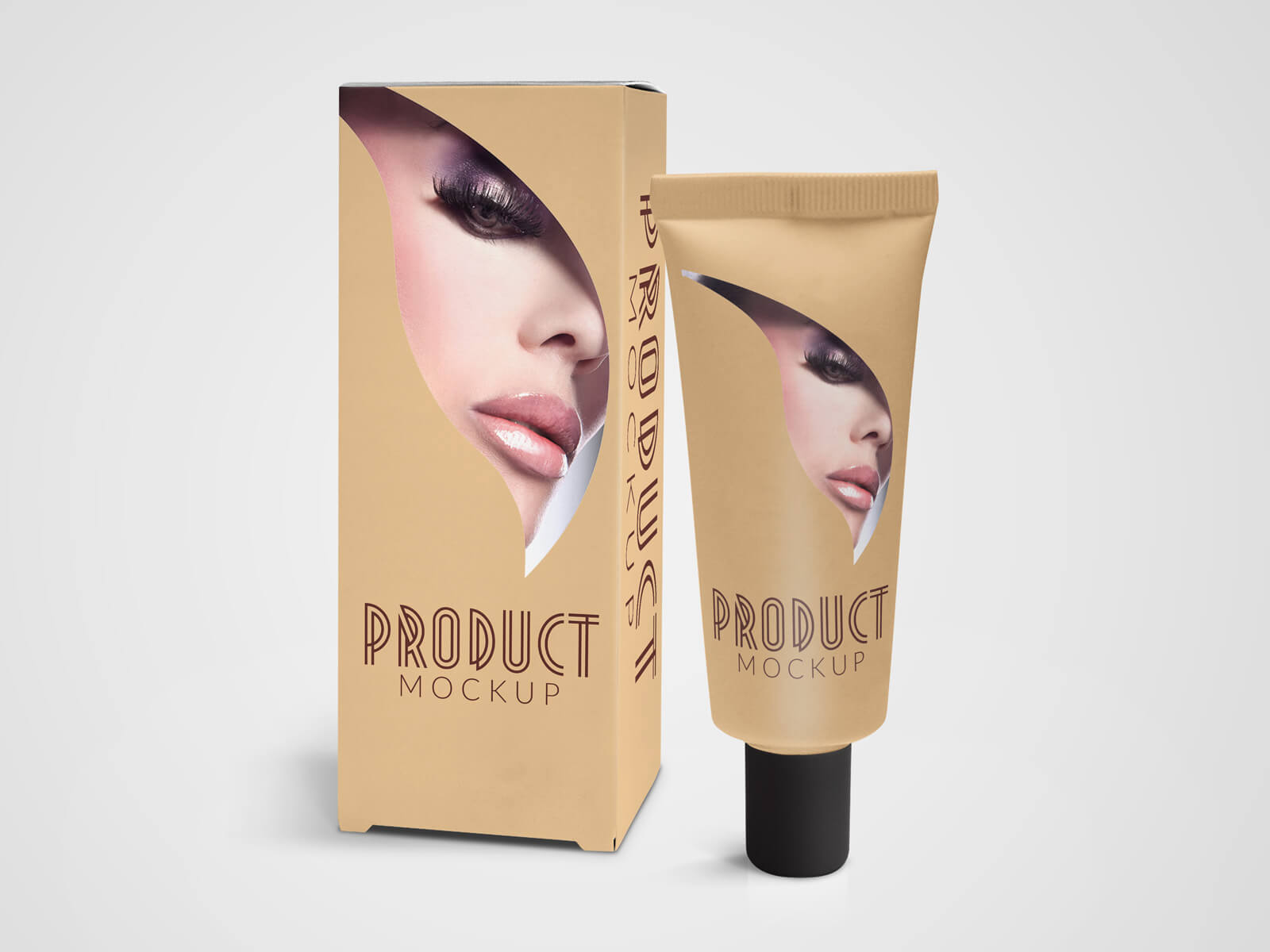 Cosmetic Tube and Box Container Mockup 01