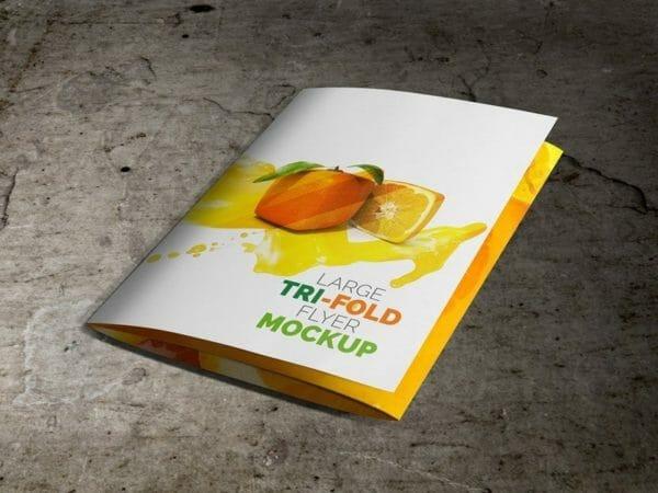 Large Trifold Brochure Mockup