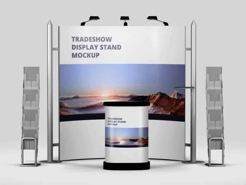 Trade Exhibition Stand Mockup Free : Trade show exhibition booth mockup vectogravic design