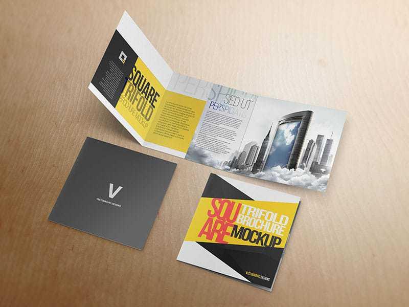 Square Tri Fold Brochure Mockup 04 Vectogravic Design