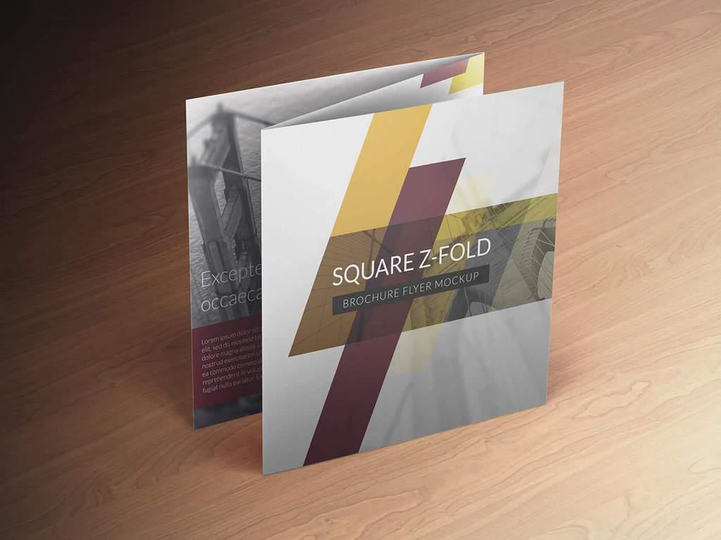 Square Z-Fold Brochure Mockup 01