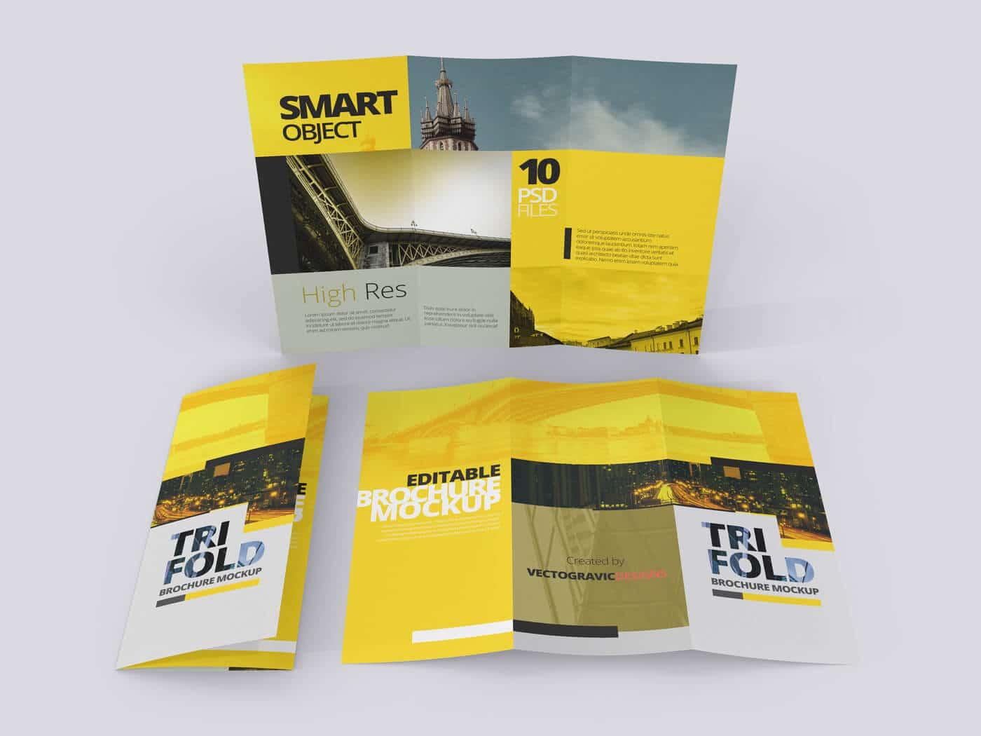 8.5×11 Tri Fold Brochure Mockups