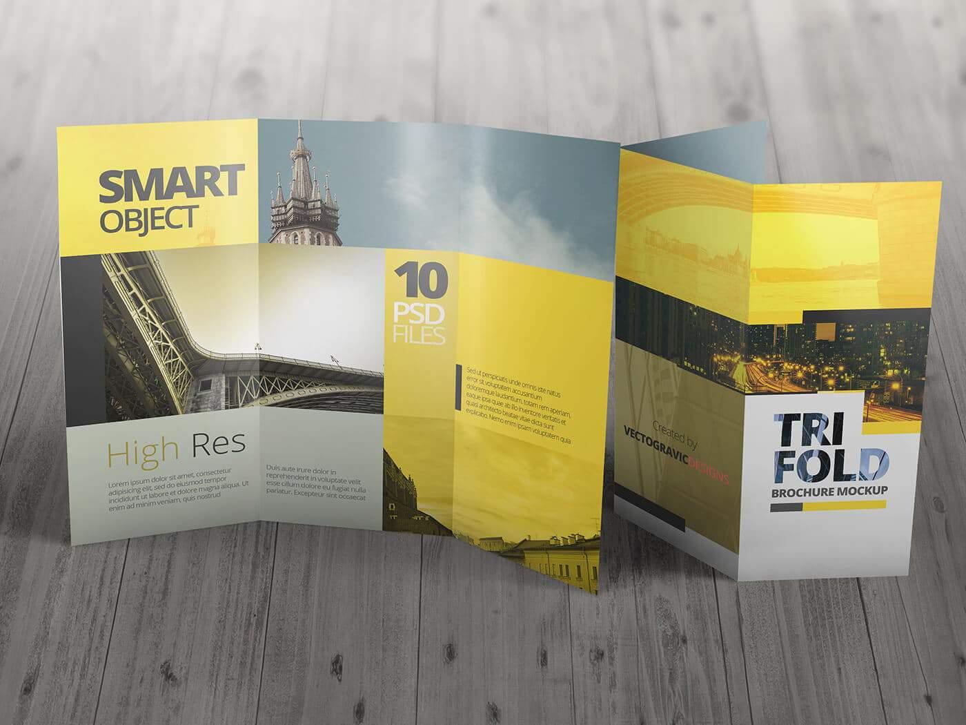 High Resolution Tri Fold Brochure Mockup 03