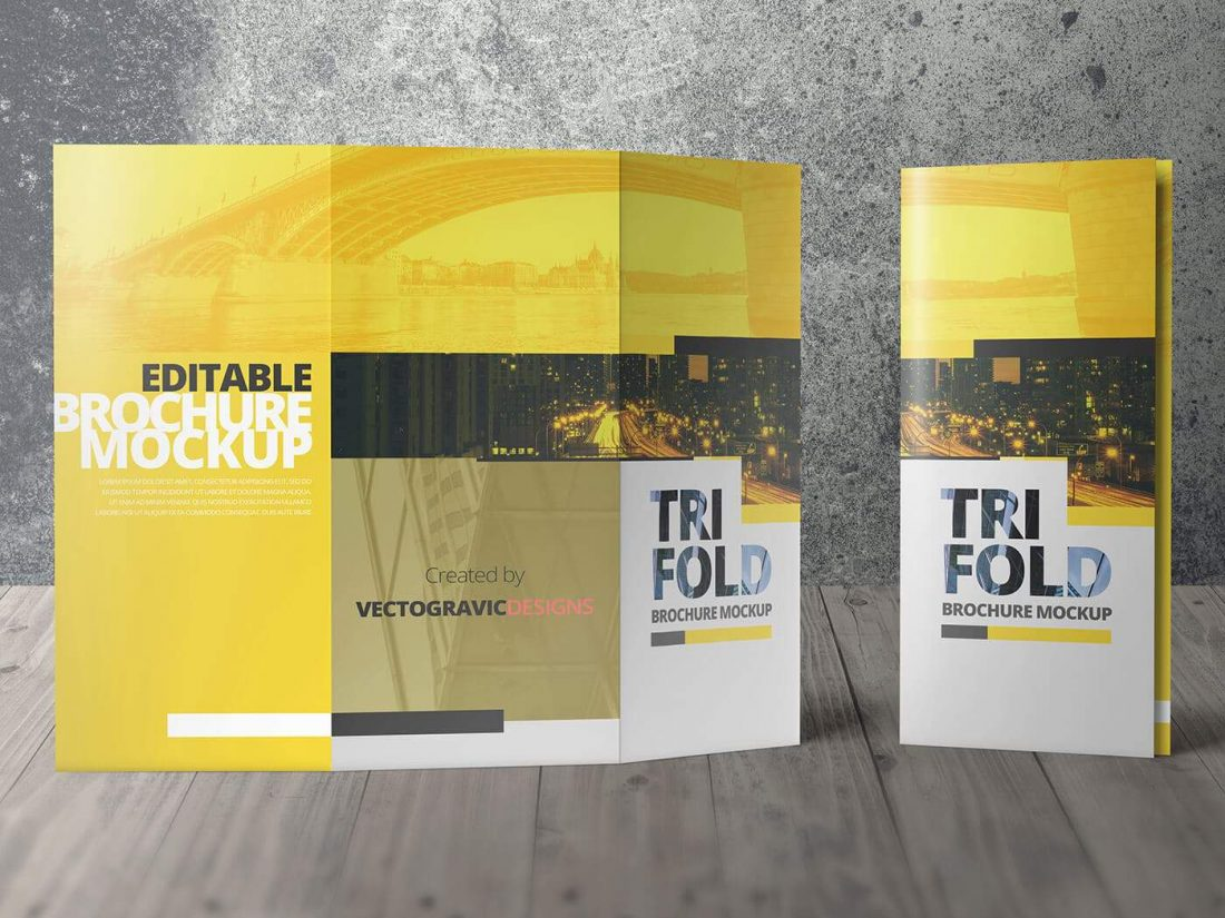 High Resolution Tri Fold Brochure Mockup 04
