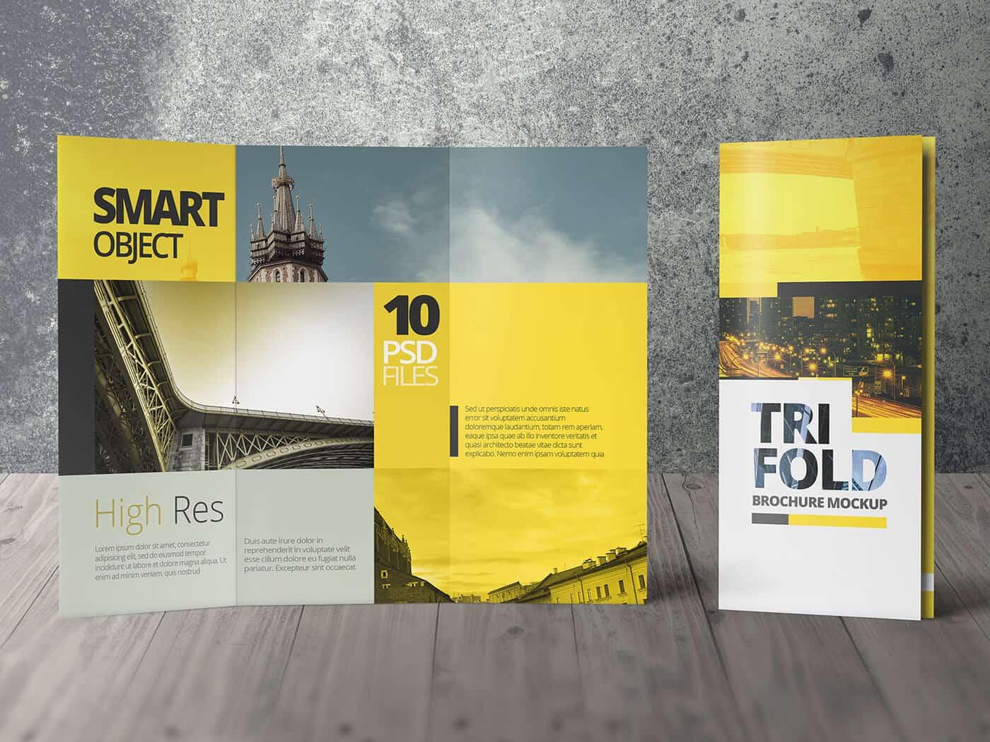 High Resolution Tri Fold Brochure Mockup 05