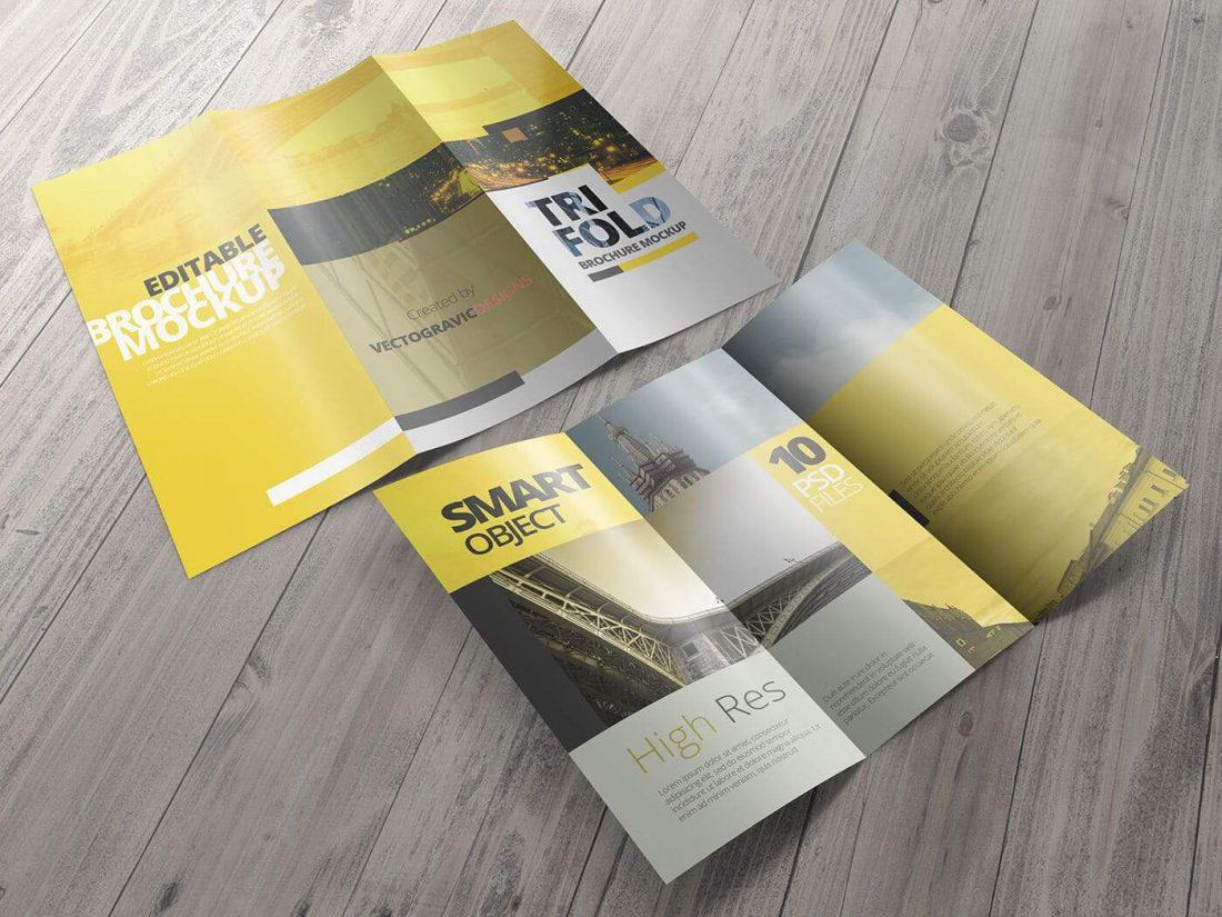 High Resolution Tri Fold Brochure Mockup 07