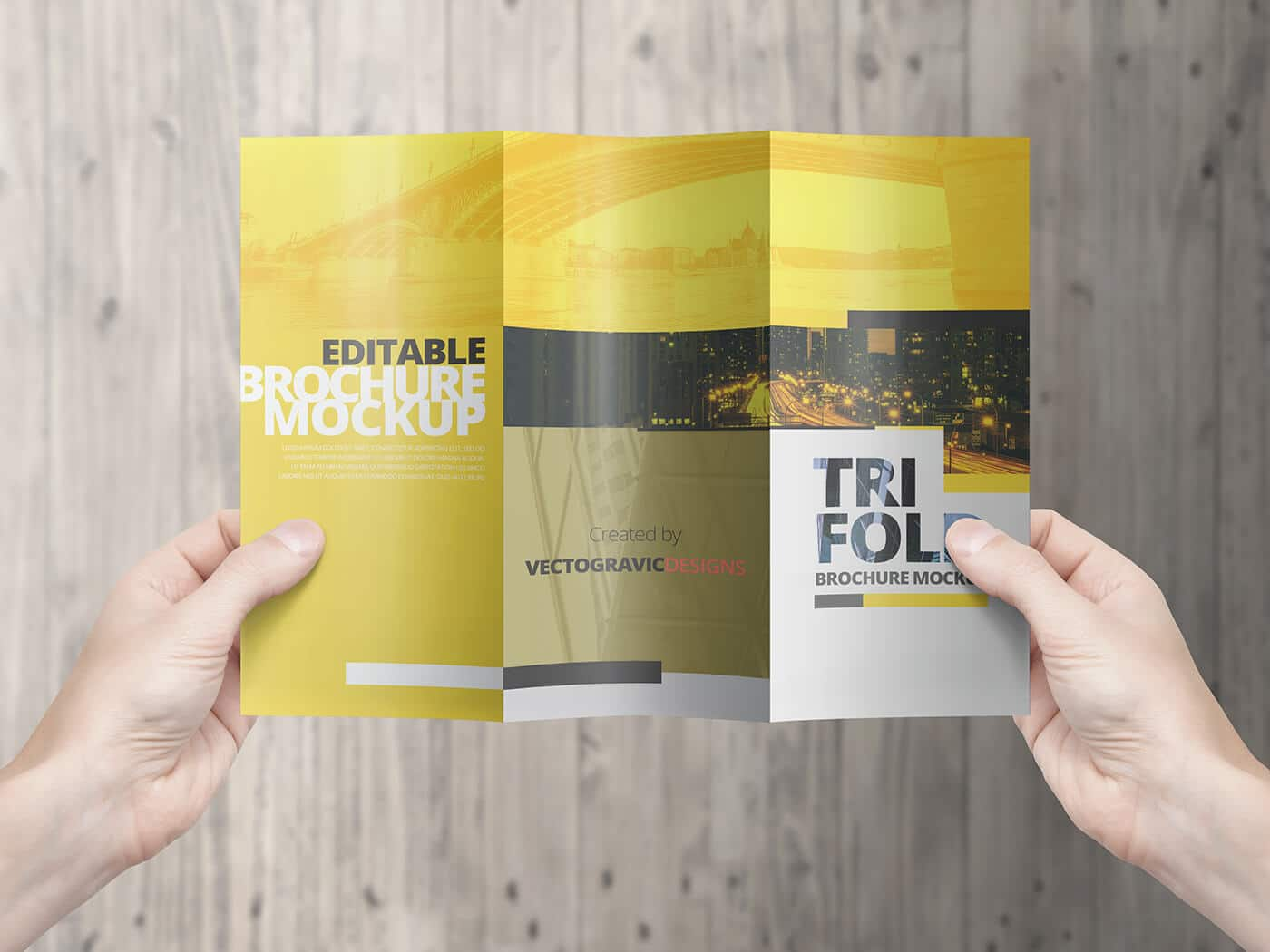 High Resolution Tri Fold Brochure Mockup 08