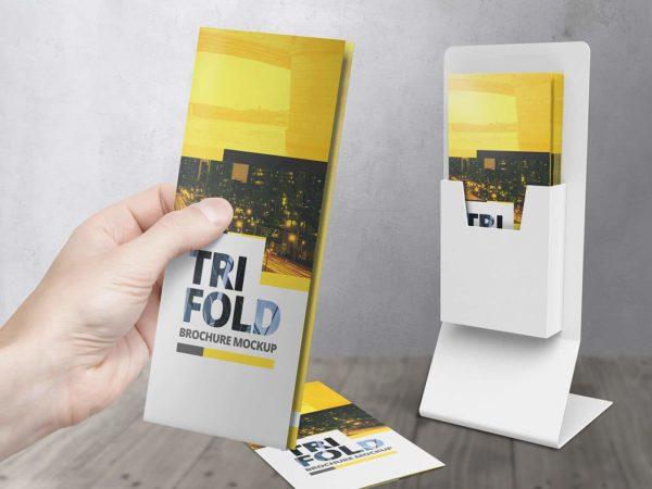 High Res Tri Fold Brochure Mockups
