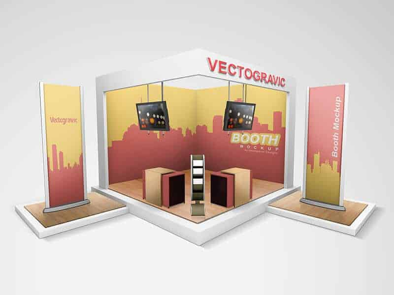 Exhibition Booth Mockup Free Download : Free display mockup by vectogravic design vectogravic design