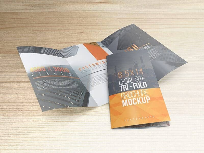8.5 X 14 Legal Trifold Brochure Mockups