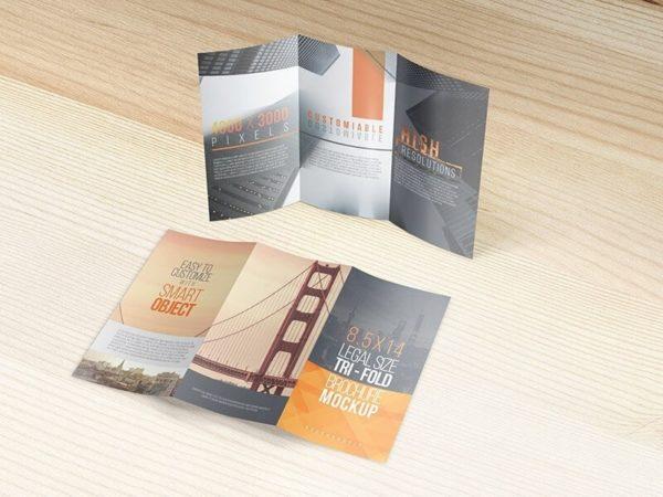 8.5 X 14 Legal Trifold Brochure Mockups
