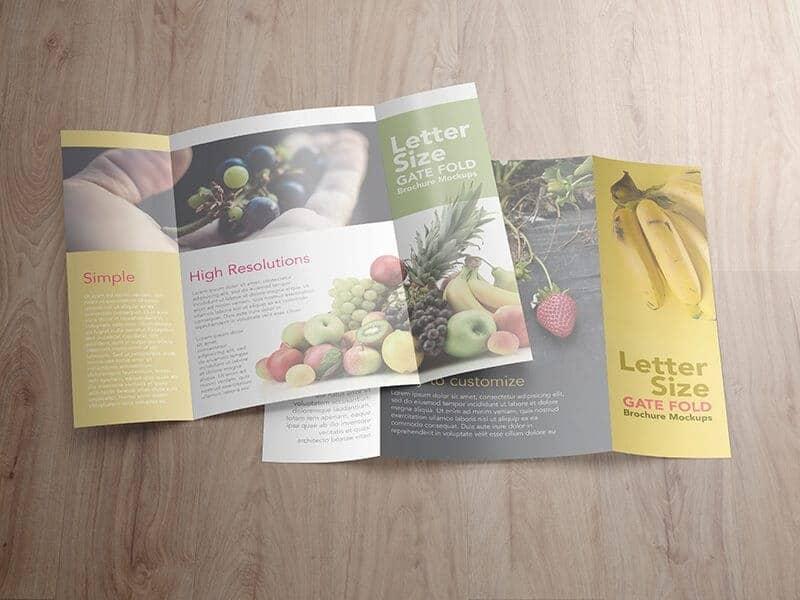 8.5×11 Gatefold Brochure Mockups