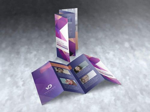 legal size four panel brochure mockup