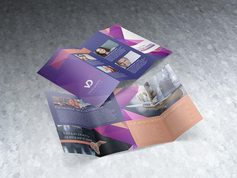 Legal Size Four Panel Brochure Mockup 07