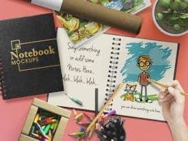 Customizable Notebook or Sketchbook Mockups