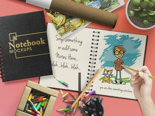 Customizable Notebook or Sketchbook Mockups