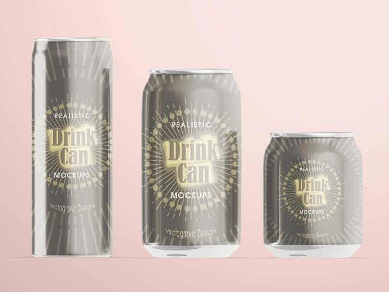 Realistic Drink Can Mockups