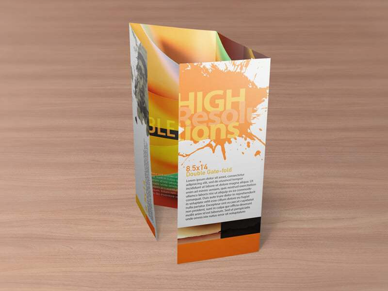8.5x14 Double Gate Fold Brochure Mockups
