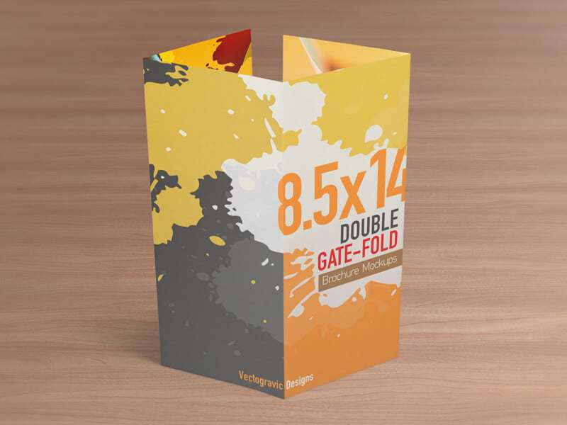 X Double Gate Fold Brochure Mockups