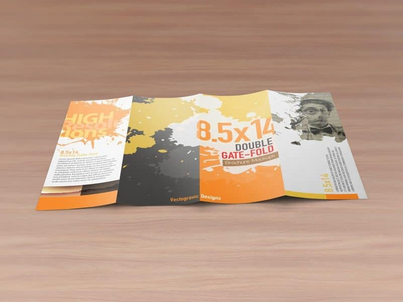 8.5×14 Double Gate Fold Brochure Mockups