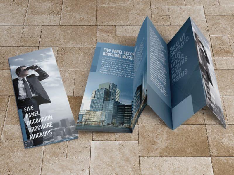 8.5×14 Five panel accordion brochure mockups