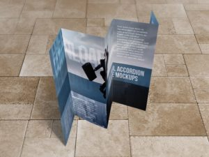 8.5x14 Five panel accordion brochure mockups