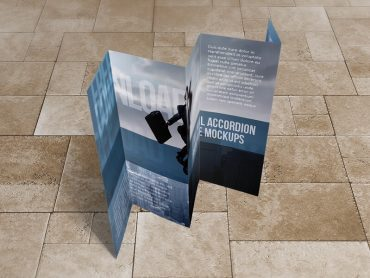 8.5×14 Five panel accordion brochure mockups
