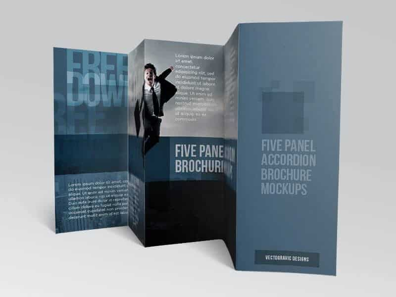 Free Five panel accordion brochure mockups