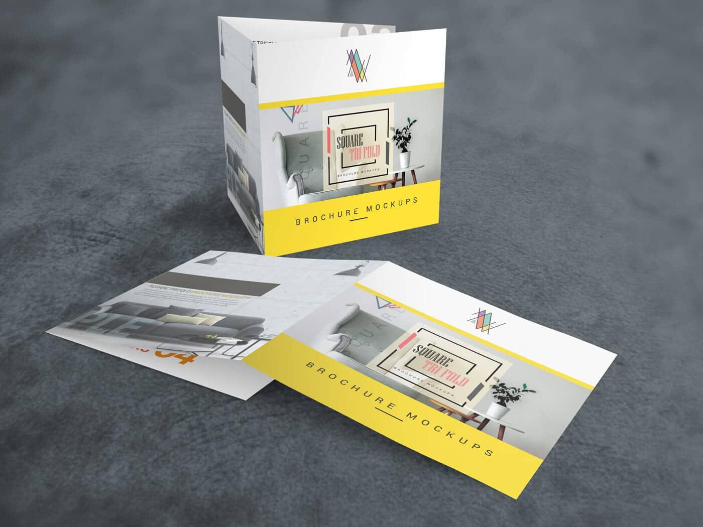 Square Trifold Brochure Mockups
