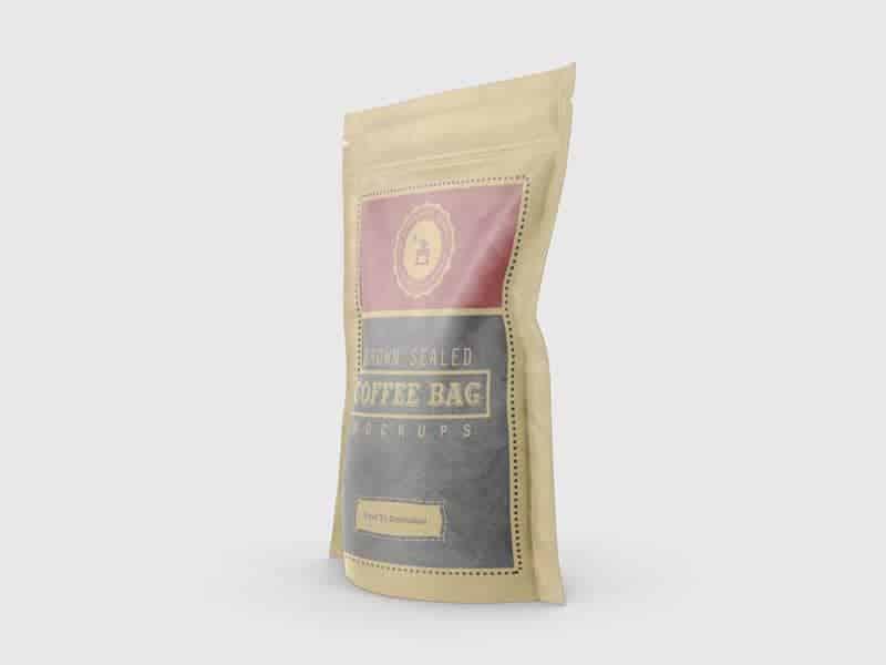 Brown Sealed Coffee Bag Mockups 02 - Brown Sealed Coffee Bag Mockups
