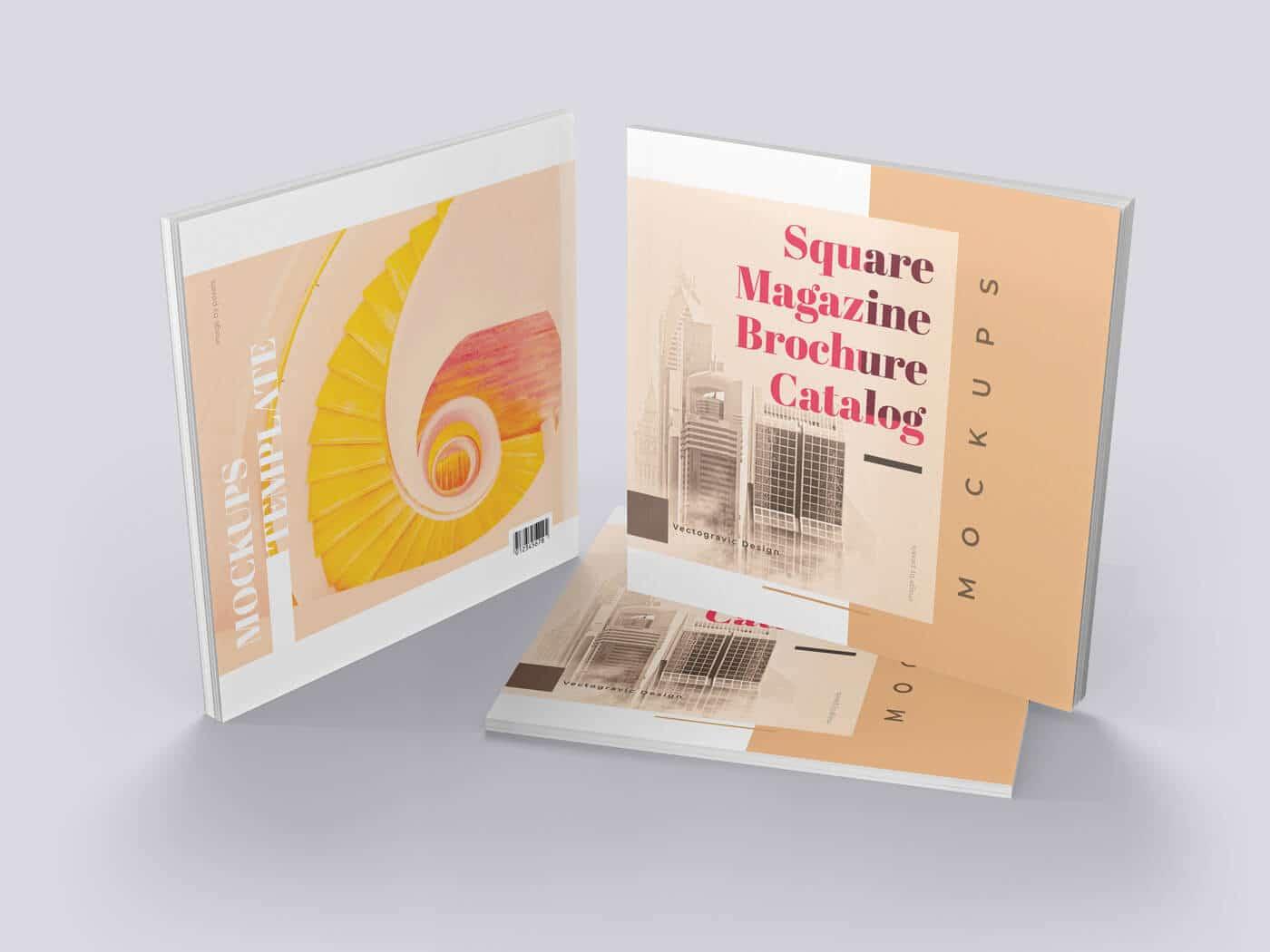 Square Magazine Brochure Catalog Mockups
