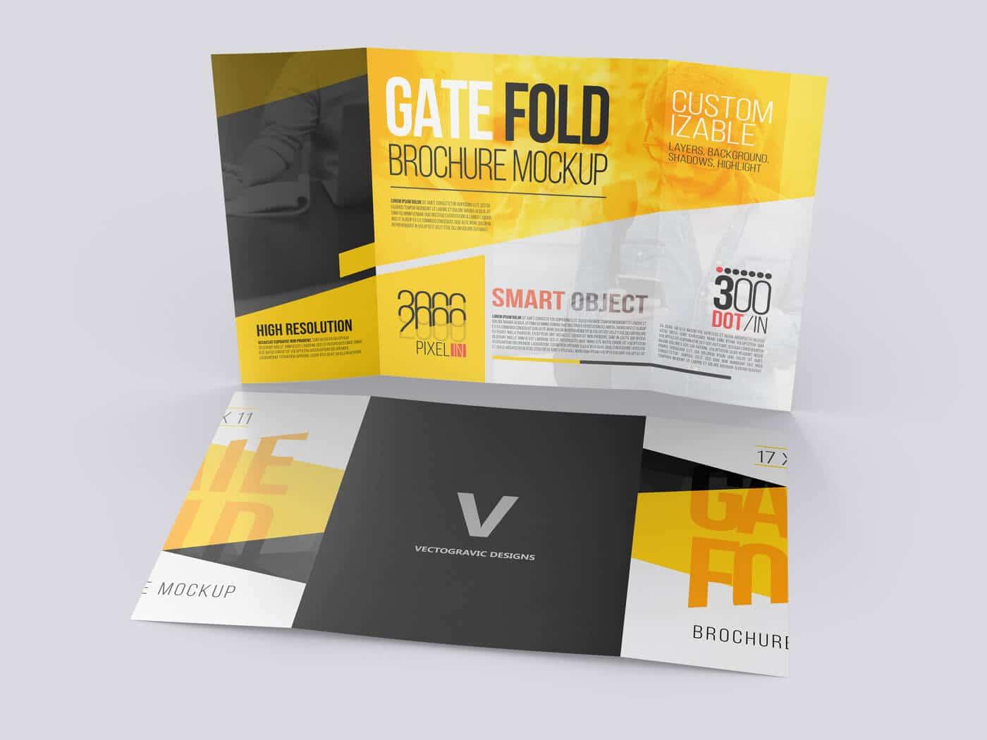 17×11 Gate Fold Brochure Mockups