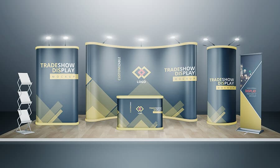 Exhibition Booth Mockup Psd : Various tradeshow exhibition booth mockups on vectogravic