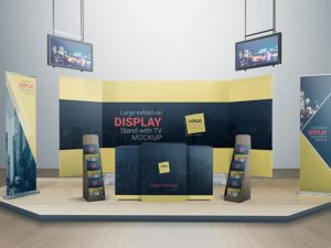 Display Stand With TV Mockup