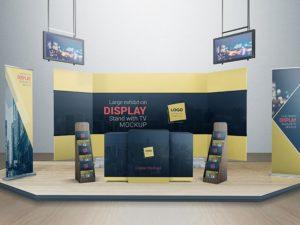 Display Stand With TV Mockup