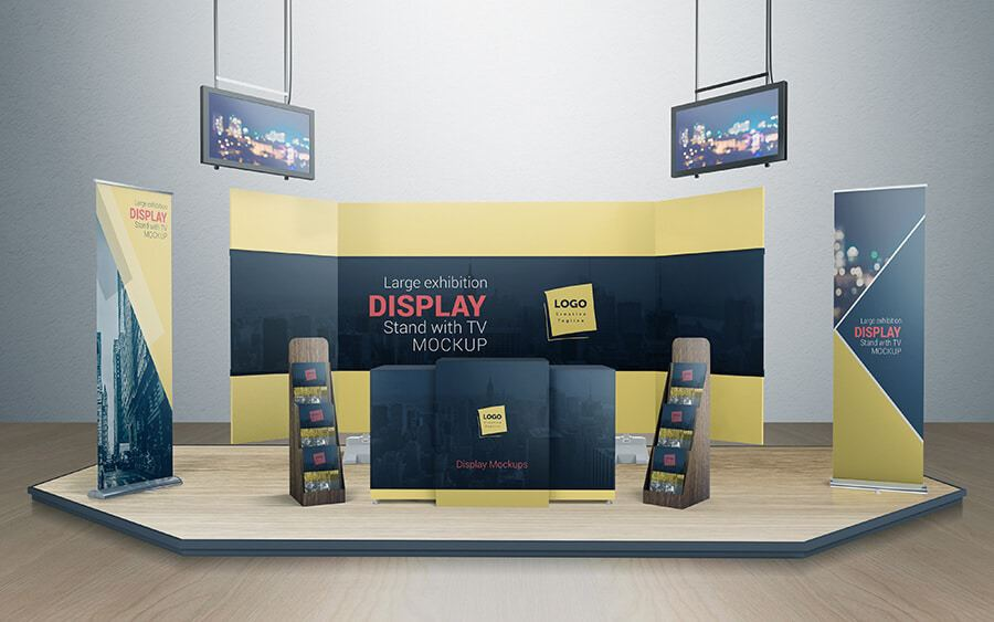 Free Pop Up Exhibition Stand Mockup : Various tradeshow exhibition booth mockups on vectogravic