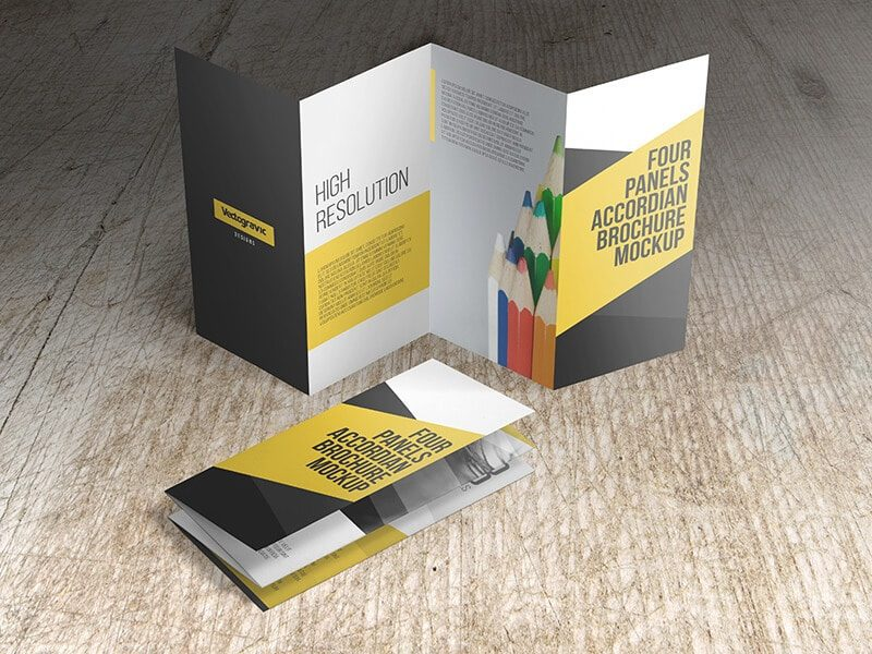 Four Panels Accordion Brochure Mockups