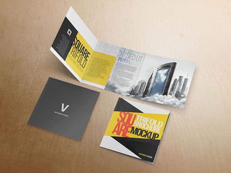 Square Tri Fold Brochure Mockup 04