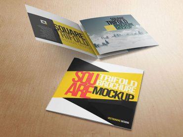 Square Tri-fold Brochure Mockup