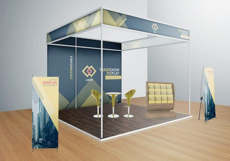 Exhibition Stand Freebies : Various tradeshow exhibition booth mockups on vectogravic