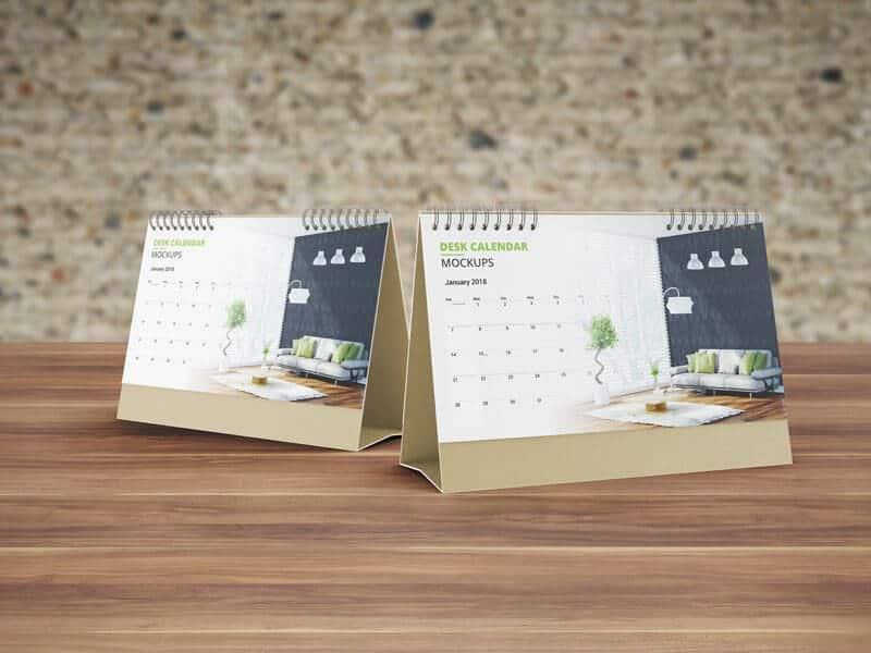 Realistic Desk Calendar Mock ups