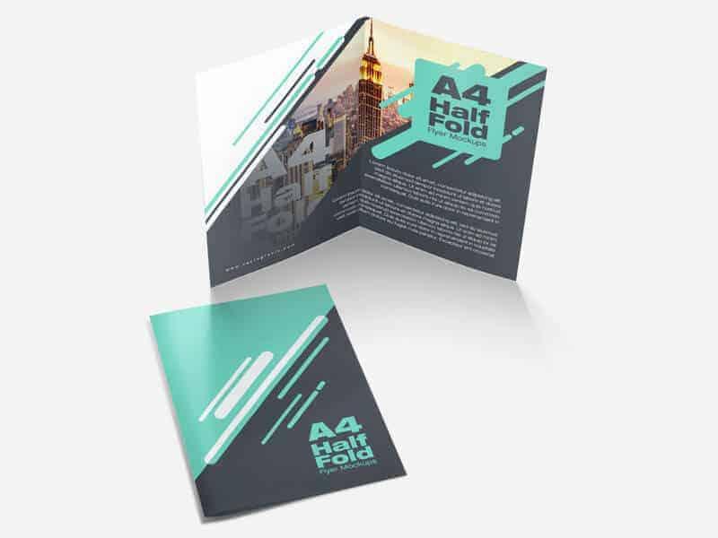 free a4 half fold flyer mockups on vectogravic design