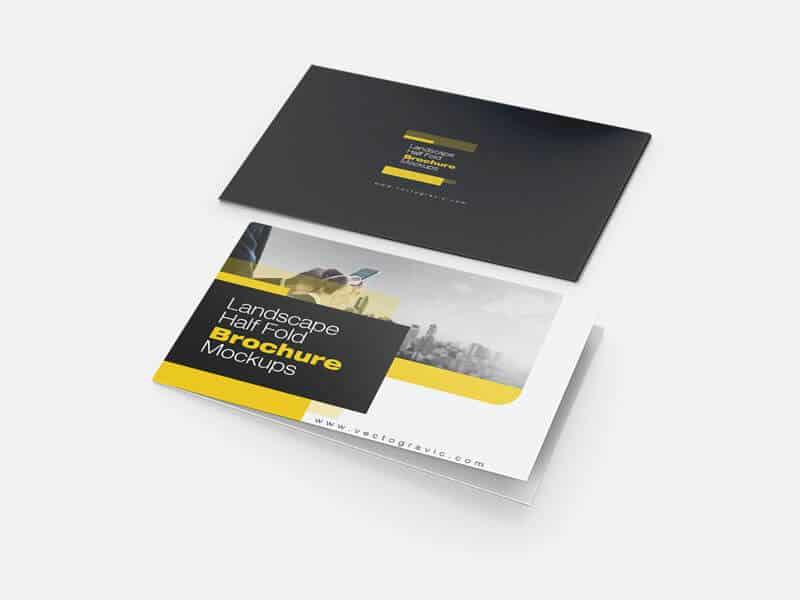 01 Landscape Half Fold Brochure Mockups