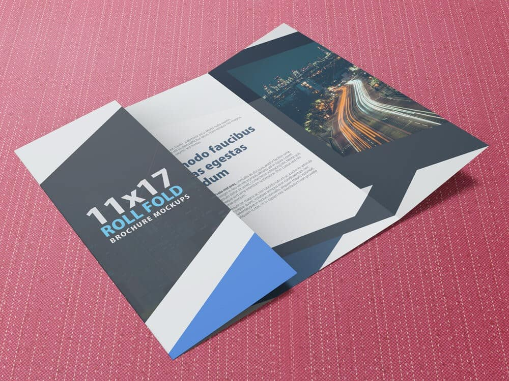 11×17 Four Panel Roll Fold Brochure Mockup
