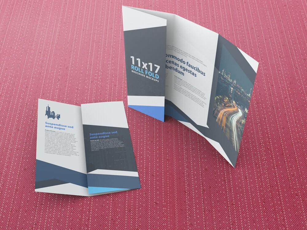 11×17 Four Panel Roll Fold Brochure Mockup