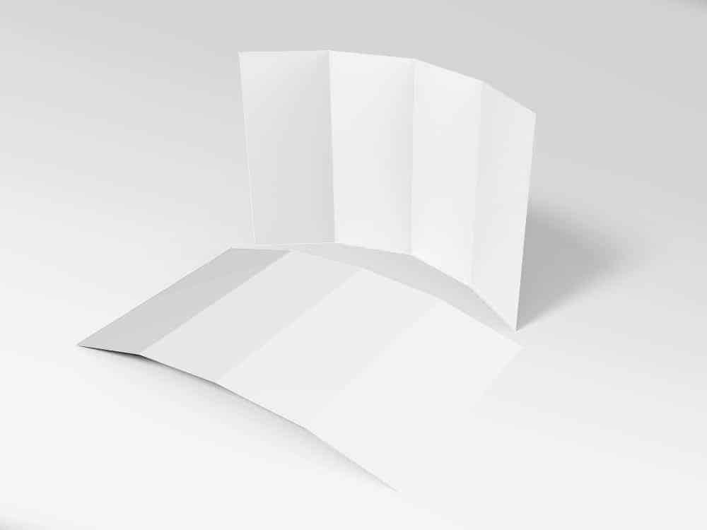 14 x 8.5 Four Panel Roll Fold Brochure Mockup