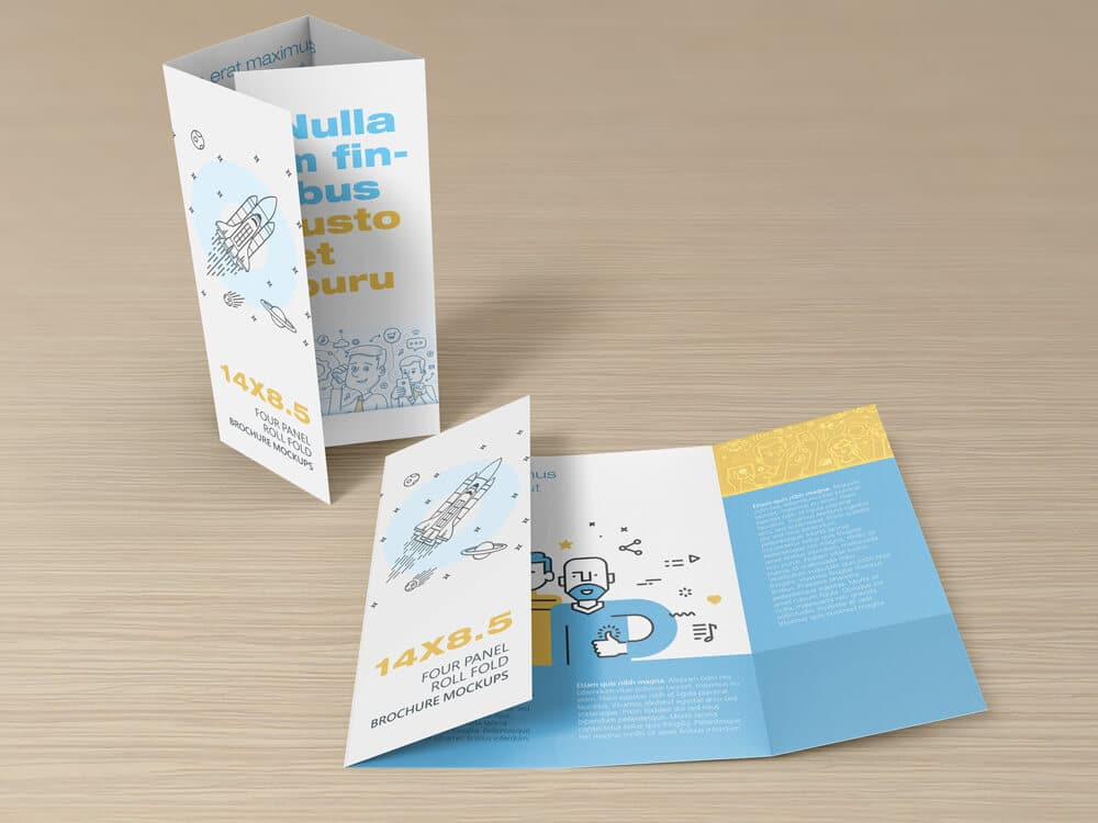 14 x 8 5 four panel roll fold brochure mockup on for 4 panel brochure template