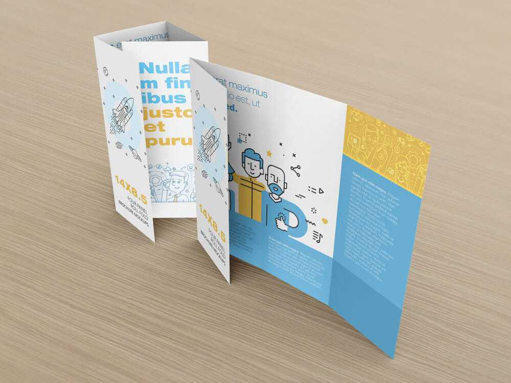 14 x 8.5 Four Panel Roll Fold Brochure Mockup