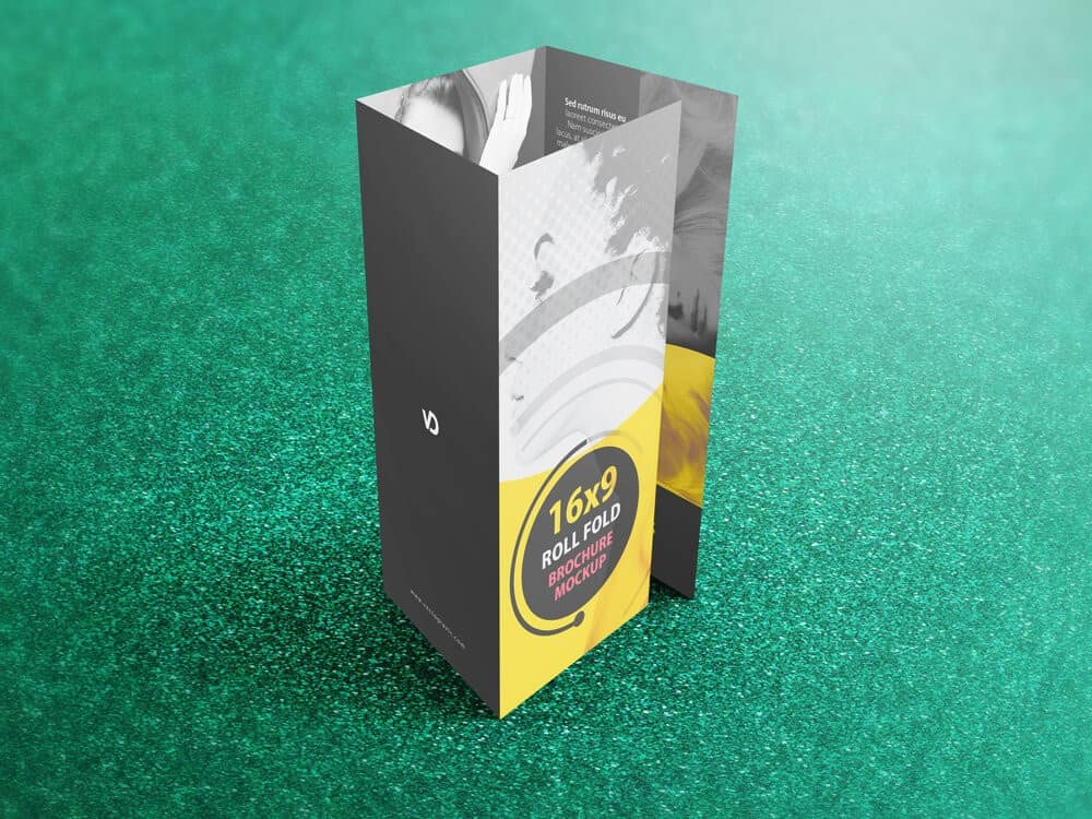 16 x 9 Four Panel Roll Fold Brochure Mockup