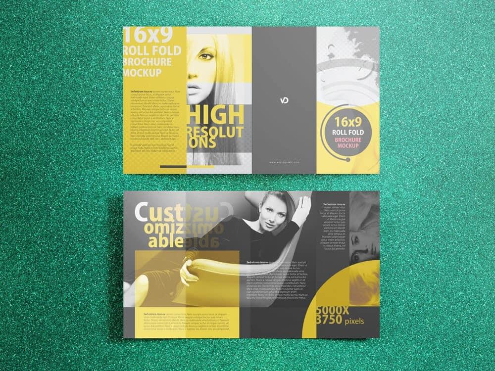 four fold brochure template - 16 x 9 four panel roll fold brochure mockup vectogravic